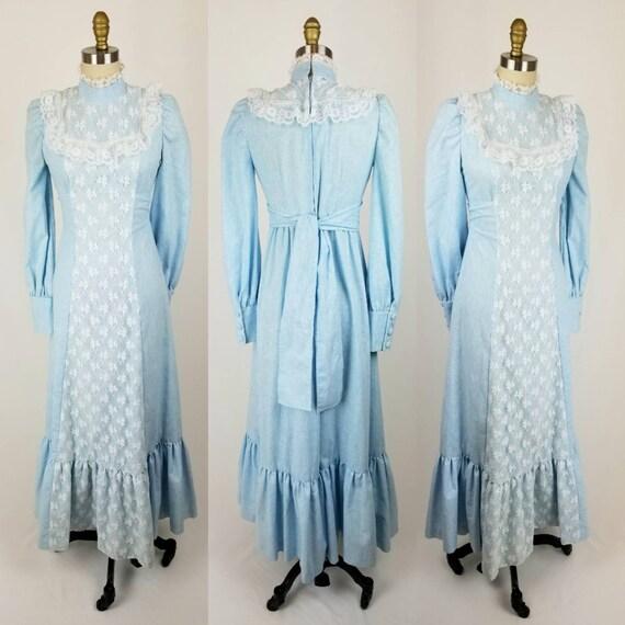 Vintage 70s powder blue cotton maxi dress