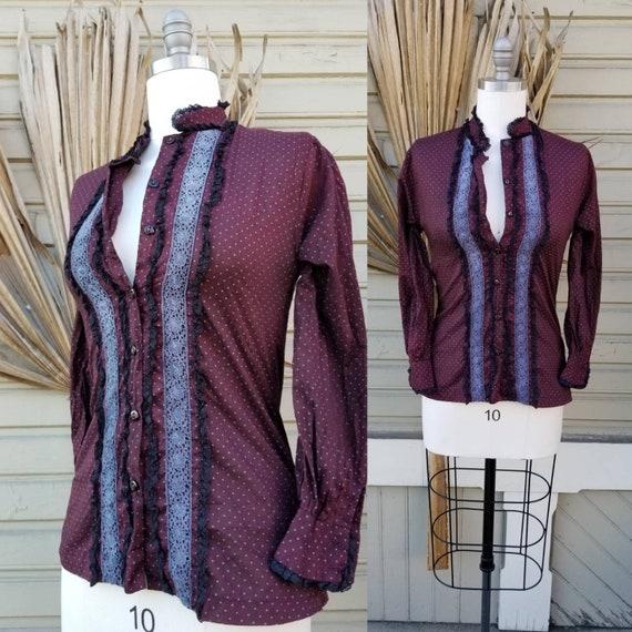 Vintage 70s wine prairie blouse - as is