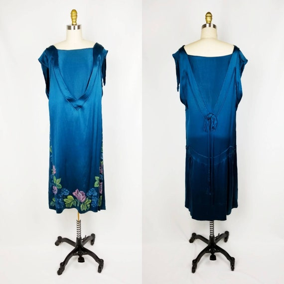 Vintage 20s/30s teal silk hand painted dress