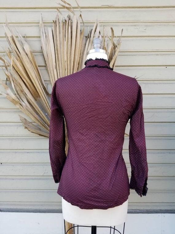 Vintage 70s wine prairie blouse - as is - image 6