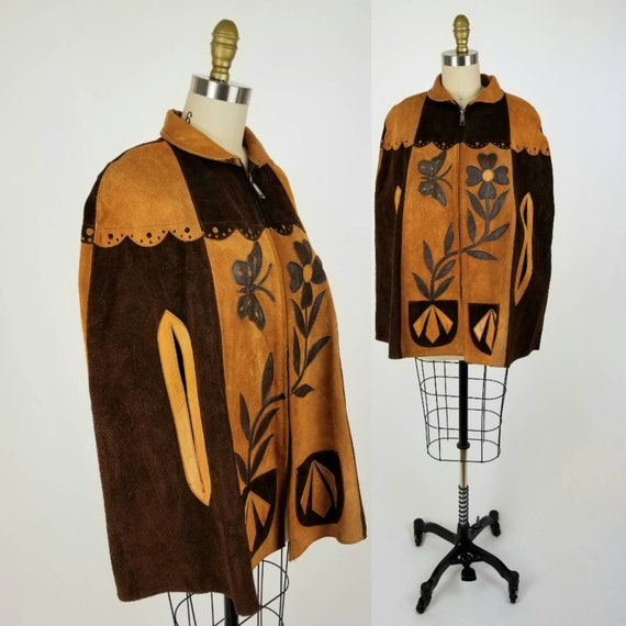 Vintage 70s Suede Patchwork Leather Poncho with Bu