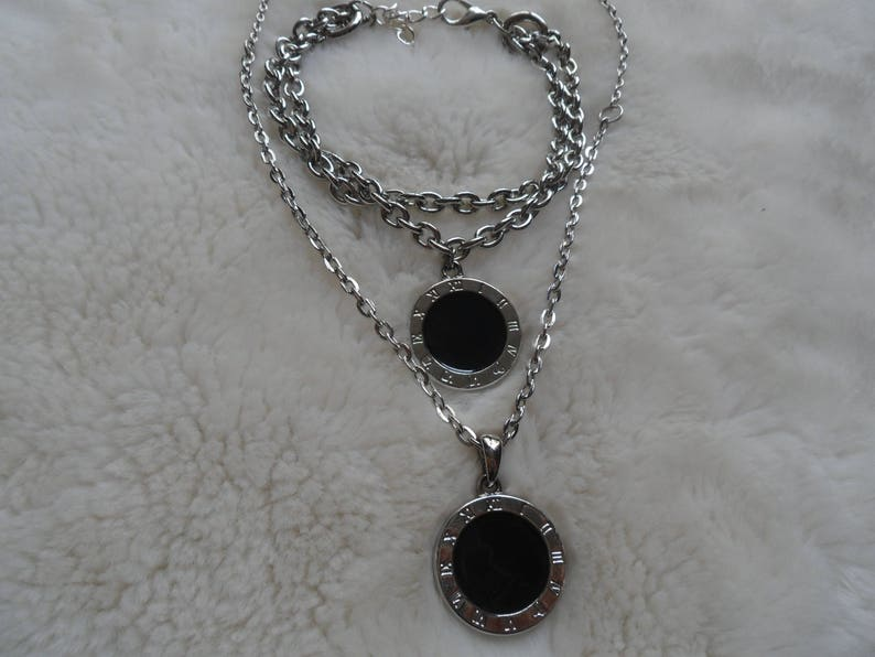 Onyx gemstone necklace bracelet set