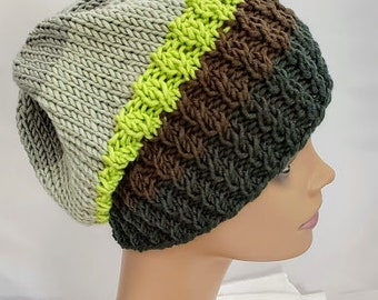 St Patrick s Day Beanie - Irish Green Knit Hat - Earth Tones Beanie - Hats  for Women - Shades of Green Hat - Slouchy Beanie - Hipster Hat 62bc807873d4