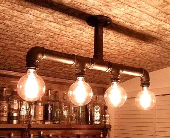 Kronleuchter Mit Glühbirnen ~ Industrie rohr kronleuchter decken vier edison glühbirnen etsy