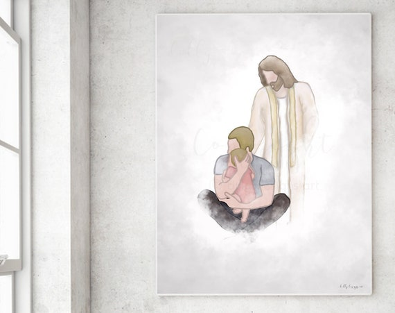 Father and Baby Memorial, Father's Day Gift, Grief Gift, Dad Sympathy, Husband Loss, Baby Loss, Christ Portrait, Christ Painting, Download
