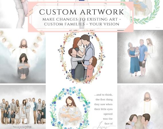 Custom Artwork, Custom Family, Make Changes To Existing Art, Christ With Family, Faceless Family, Custom Family Art, Christ, LDS, Temples