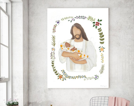 Jesus Holding Baby, Jesus Painting, Digital Art, Christ Drawing, Christ Holding Baby, Oranges Blanket, Black Ethnicity, Comforting Artwork