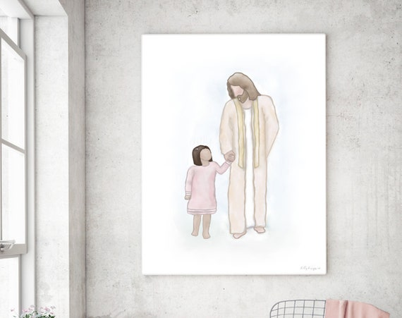 Walking With Jesus, Christ With Child, Christian Art, Christian Painting, Digital Art, Digital Print, Printable JPG, Christian Printables
