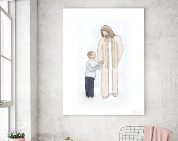 Christian, Baptism Gift, Christ Watercolor, Digital Painting, Boy Baptism, Boy With Christ, Lds Jesus, Christ Art, Jesus Art, Jesus Christ,