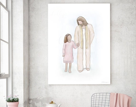 With Christ, Christ Wall Art, Older Girl and Christ, Christ Painting, Digital Art, Christian Art, Christian Painting, Digital Painting, LDS