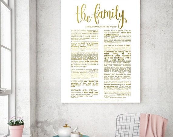 Family Proclamation, Modern Emphasized, Modern LDS Printable, The Family, Gold Family Proclamation, Church of Jesus Christ, Modern LDS Art