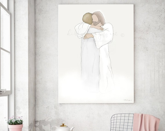 Remembrance Gift, Remembrance, Loss of Loved One, Grandma Loss, Loss of Grandma, Grandmother, Christ Hugging, Heaven Art, Christ Art, Jesus