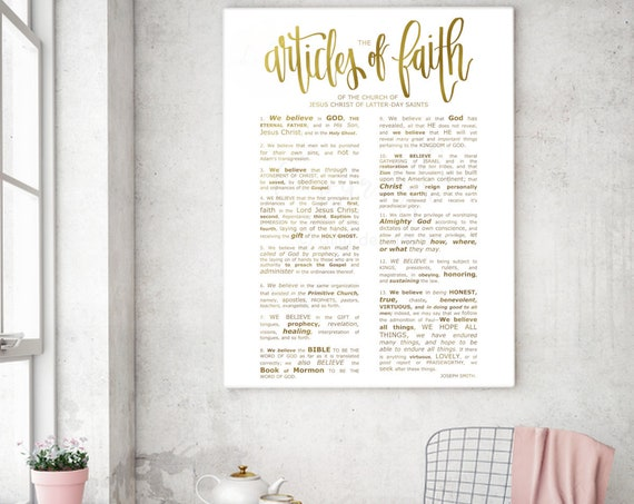Gold Articles of Faith, Modern Articles of Faith, Text Emphasized, Calligraphy, Church of Jesus Christ, Primary Printables, Home Printables