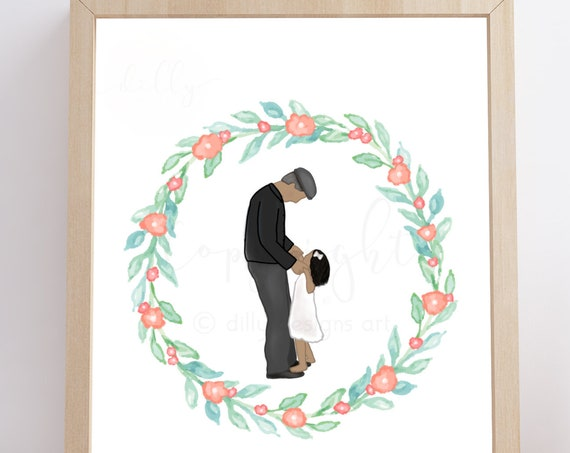 Grandpa Funeral, Grandpa Memorial, Grandpa and Granddaughter, Grandchild Memorial, Grandchild Funeral, Memorial Gift, Memorial Artwork, Loss