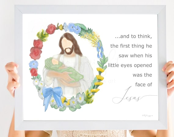 Baby Bereavement, And To Think The First Thing He Saw When His Little Eyes Opened Was The Face Of Jesus, Baby Loss Quote, Funeral Flowers