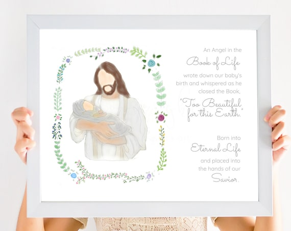 Book of Life Quote, Angel Baby Gift, Angel Baby Art, Printable Art, Book of Life Art, Christ Holding Baby, Miscarriage Gift, Miscarriage Art