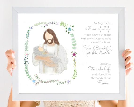 Book of Life Quote, Angel Baby Gift, Angel Baby Art, Printable Art, Book of Life Art, Christ Holding Baby, Miscarriage Gift, Miscarriage Art