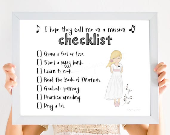 Printable, I Hope They Call Me On A Mission Checklist, Blonde Girl, LDS Primary Printable, Missionary Checklist, Pray A lot, Mormon Mission