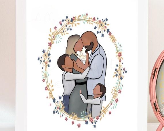 Family Painting, Digital Art, Family Portrait, Angel Baby, Baby Loss, Baby In Heaven, Baby Condolence, Memorial Art, Memorial Gift, Infant