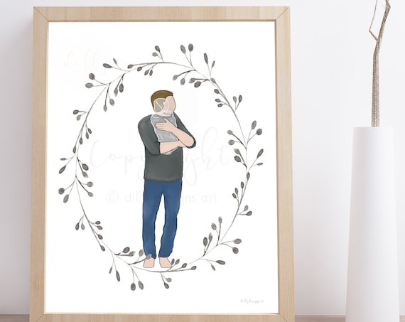 Memorial Art, Unique Memorial Art, Gift for Grieving Father, Sympathy Art, Printable Sympathy Gift, Dad Holding Angel Baby, Dad with Angel