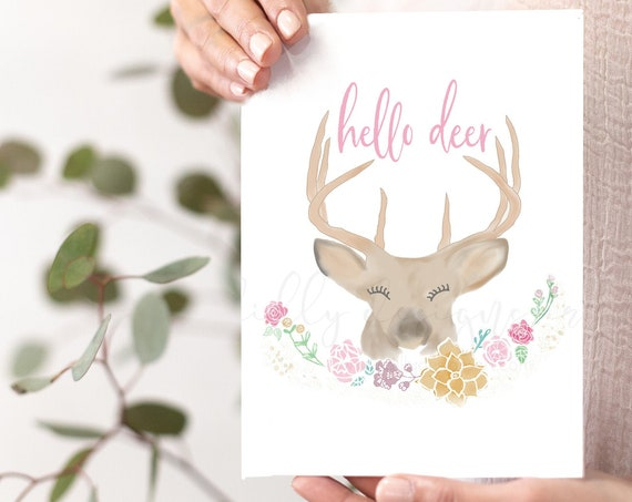 Hello Deer Printable Card, 5x7, Hello Deer, Hello Deer Card, Hello Deer Gift, Hello Deer Printable, Whimsical Card, Whimsical Printable