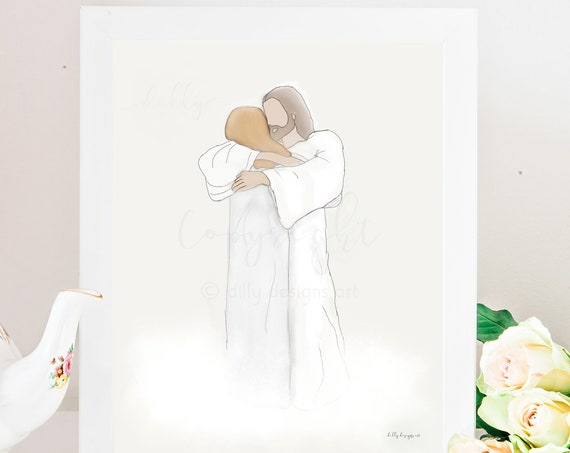 Memorial Art, Fast Bereavement Gift, Printable Art, Woman Hugging Jesus, Wife Memorial, Mother Memorial, Daughter Memorial, Funeral Gift