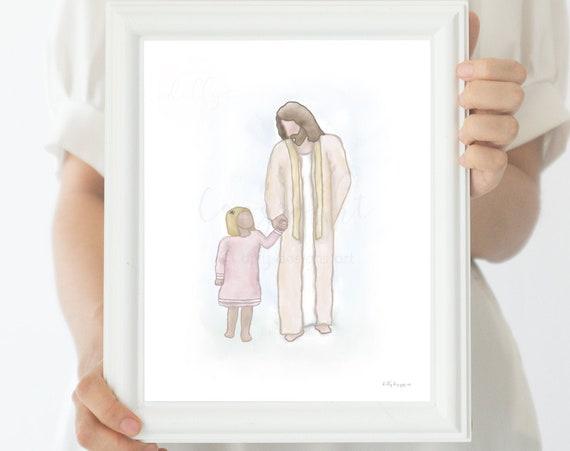 Jesus Christ, Jesus Christ Painting, Jesus Christ Watercolor, Digital, LDS Baptism, LDS Art, LDS Watercolor, Lds Painting, Jesus Painting
