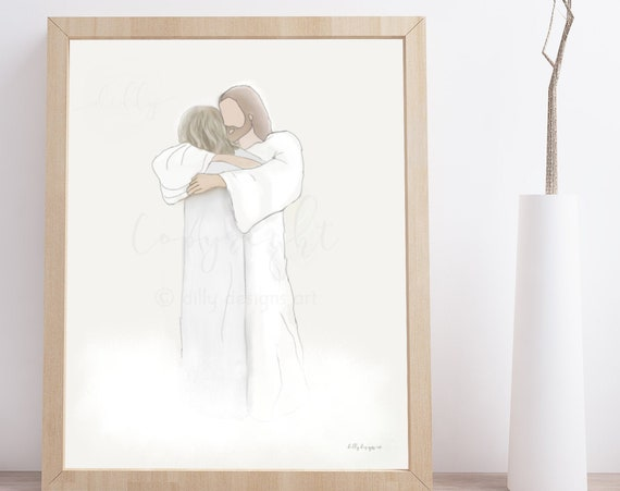 Christ Hugging Woman, Grandma Loss, Grandparent Loss, Mother Loss, Mom Loss, Heaven's Gate, Welcome Home, Heavenly Welcome, Mom Memorial Art