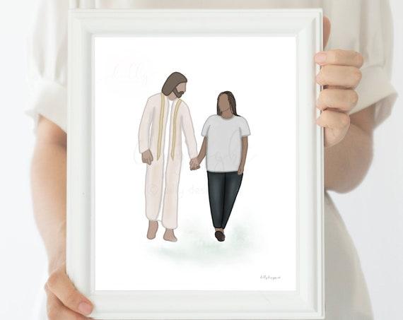 Religious Printable, Christian Art, Comforting Art, Religious Art, Uplifting Art, Walking With Christ, Walk With Jesus, Prayer, Church Art