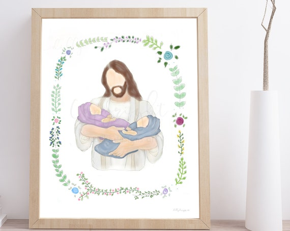 Twin Memorial Gift, Infant Memorial, Twin Babies, Twin Baby Loss, Birth of Multiples, Loss of Babies, Gift For Grieving, Jesus Christ, Loss