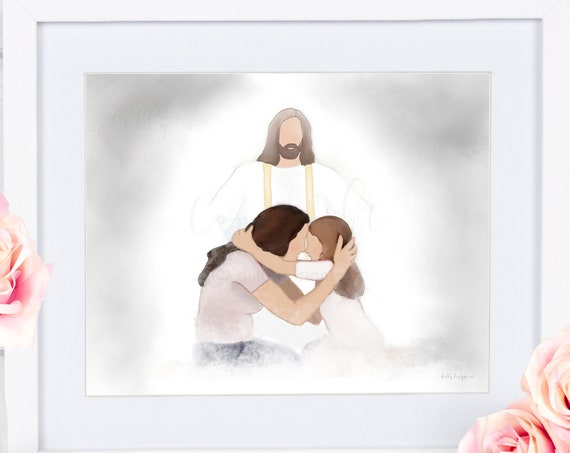 Mother and Daughter, Greeting In Heaven, Hugging In Heaven, Christ's Arms, Sympathy Artwork, Condolence Gift, Memorial Artwork, In Memory of