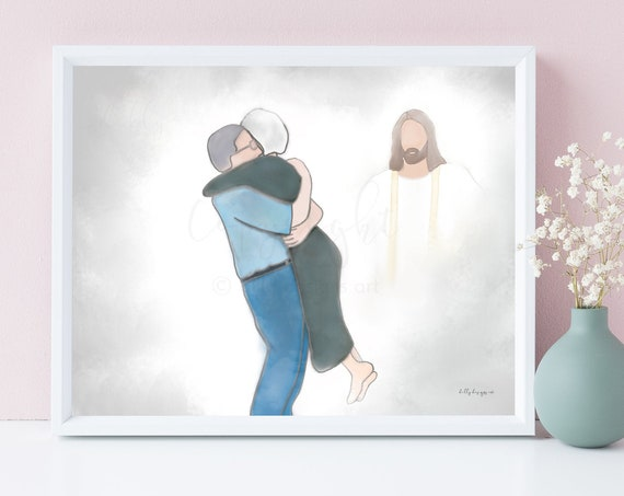 Grandparent Memorial, Reunion In Heaven, Memorial Art, Grandparents In Heaven, Thoughtful Gift, Funeral Art, Sympathy, Printable Gift, Art