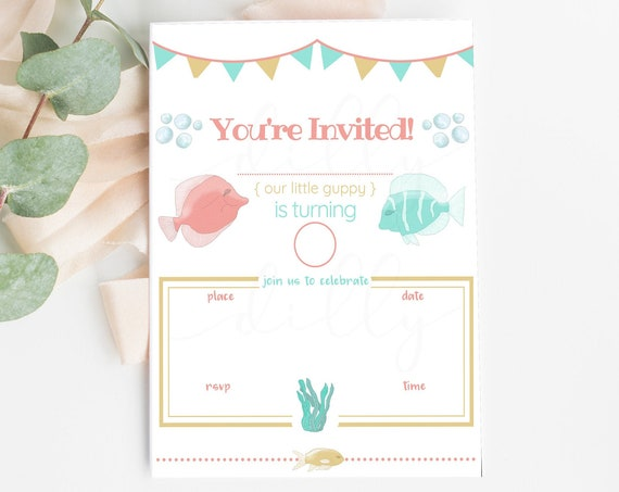 Swim Party, Pool Party, Swim Party Invite, Pool Party Invite, Birthday Party, Swimming Party, Swim Invitation, Girl Pool Party, Fish Invite
