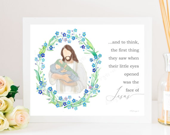 The First Thing They Saw, When Their Little Eyes Opened, Was The Face Of Jesus, Twin Memorial Art, Twin Memorial Gift, Twin Pregnancy Loss,