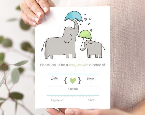 Elephant Baby Shower, Blue Baby Shower, Green Baby Shower, Elephant Shower, Elephant Invitations, Elephant Invites, Elephant Nursery, Baby