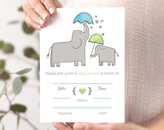 Elephant Baby Shower, Blue Baby Shower, Green Baby Shower, Elephant Shower, Elephant Invitations, Elephant Invites, Elephant Nursery, Baby