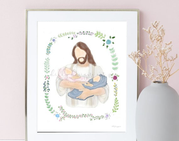 Memorial Artwork, Memorial Gift, Twin Memorial, Baby Memorial, Infant Memorial, Twin Loss Gift, Baby Loss Gift, Condolence Gift, Christ