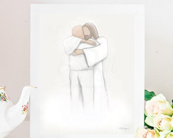 In Memory, Grandpa Memorial, Celestial Art, Heaven Depiction, Reunion In Heaven, Christ Hugging Man, Funeral Gift, Funeral Painting, Digital