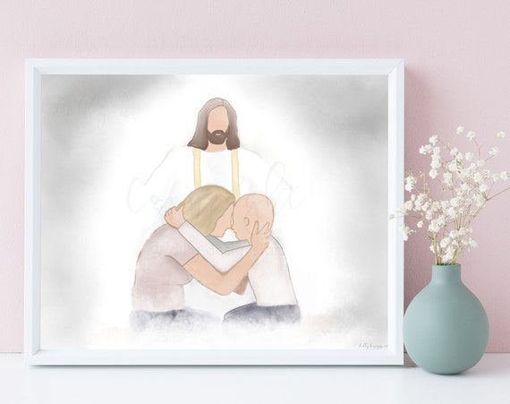 Comforting Gifts, Printable Art, Cancer Gift, Sympathy Gift, Child Cancer, Mom and Child, Jesus Christ Art, Jesus Paintings, Digital Artwork