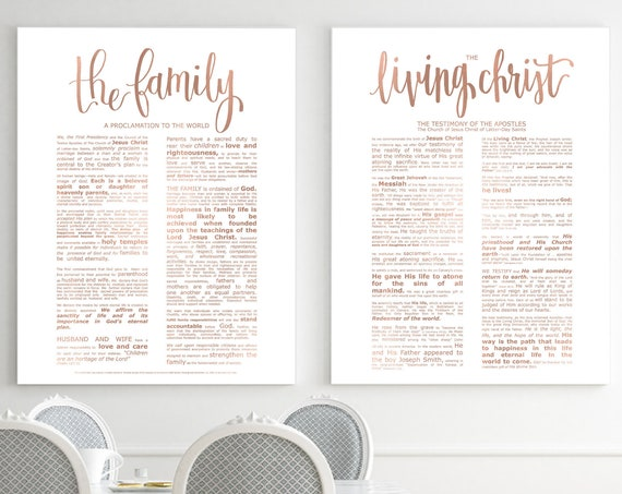 Family Proclamation, Living Christ, Bundle, Modern Emphasized, Rose Gold, Modern Family Proc, Church Printables, Church of Jesus Christ, Art