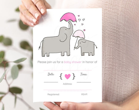 Girl Baby Shower, Elephant Shower Invites, Girl Shower Invites, Pink Shower Invites, Pink Baby Shower, Elephant Baby Shower, Pink Elephants