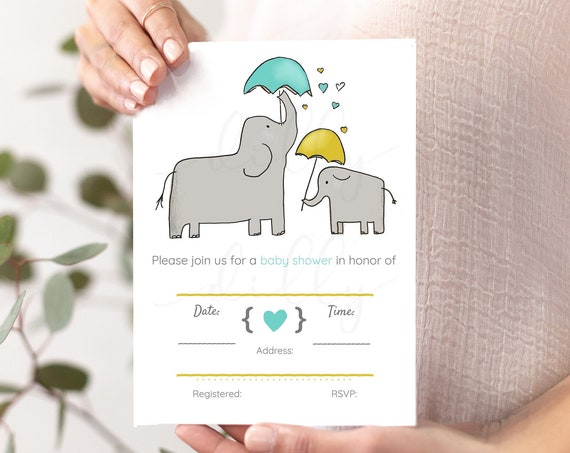 Elephant Baby Shower, Elephant Invites, Teal and Gold Invite, Elephant Inviations, Baby Shower Invites, Elephant Shower, Baby Elephant, Gold