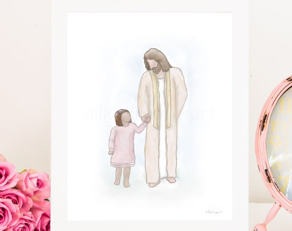Girl With Christ, Walking With Jesus, Jesus Christ, Christ Printable, Jesus Printable, Christ Art, Jesus Art, Primary Art, Primary Printable