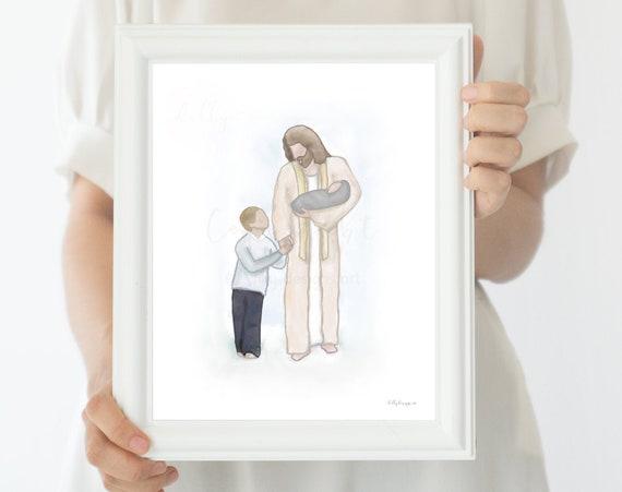 Angel Baby Loss, Children With Christ, Children With Jesus, Church of Jesus Christ, Jesus Christ Art, Jesus Christ Printable, Jesus Walking