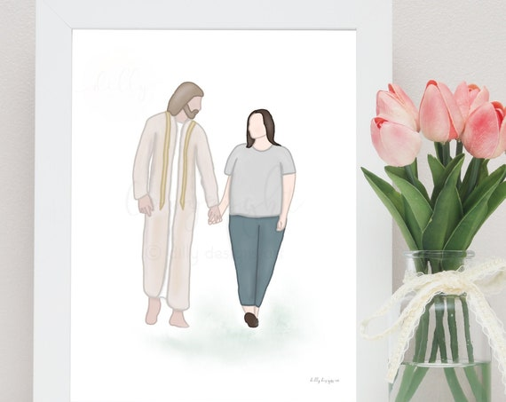 Woman and Christ, With Jesus, Sympathy Gifts, Uplifting Art, Gifts For Depression, Gifts For Anxiety, Daily Reminder, Christian Artwork, Art
