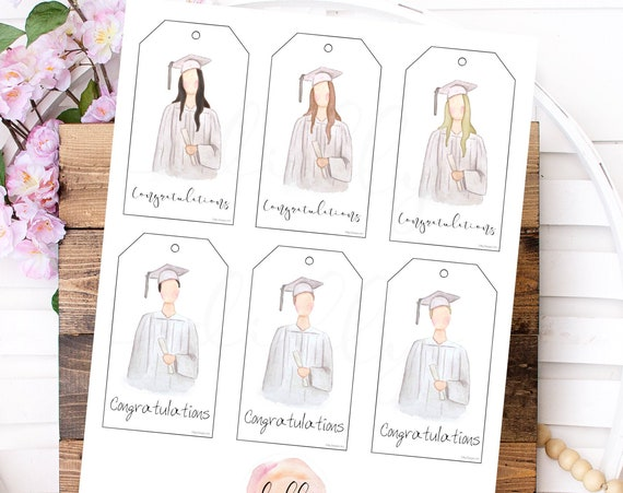 Graduation Gift Tags, Graduation Tag, Boy and Girl, Different Hair Colors, Congratulations Tag, Printable Gift Tags, Congrats Grad, Graduate