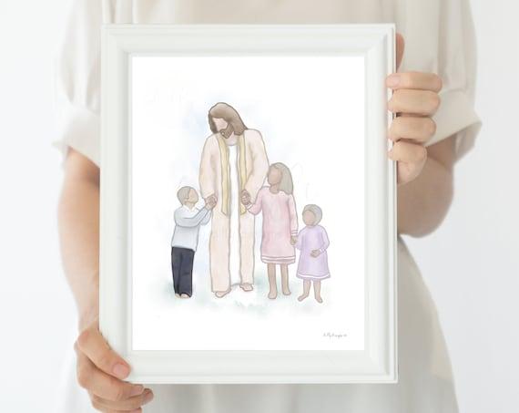 Christ With Children, Children With Jesus, Little Kids With Christ, Little Ones, Jesus Christ Art, Jesus Art, Christ Art, Come Unto Me, Walk