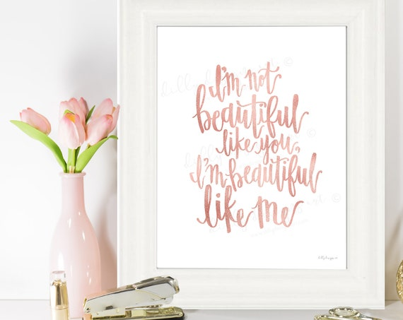 I'm Beautiful, Calligraphy, I'm Beautiful Like Me, I'm Not Beautiful Like You, Motivational Quote, Young Womens, Young Womens Art, Youth