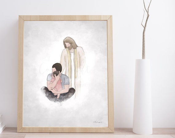 Father Gift, Memorial Gift, Husband Gift, Baby Loss Gift, Husband Loss Gift, Memorial Artwork, Dad Holding Baby, Christ Painting, Download