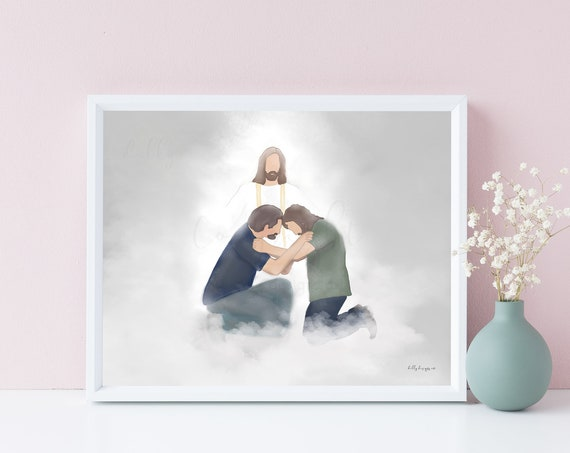 Father and Son, Meeting In Heaven, In Memory, Heavenly Greeting, Jesus Christ, Christian Artwork, Gifts To Help The Grieving, Funeral Art